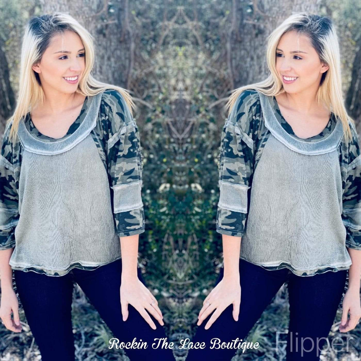Olive Knit - Camo Tops Rockin The Lace Boutique