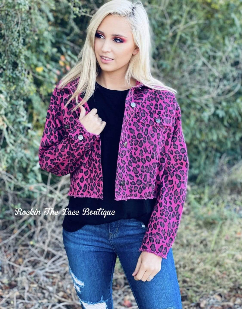 Pink Leopard Biker Jacket Small Clearance Rockin The Lace Boutique