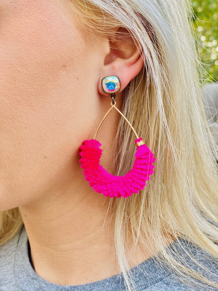 Pink Panache Hot Pink & Gold Earring New Rockin The Lace Boutique