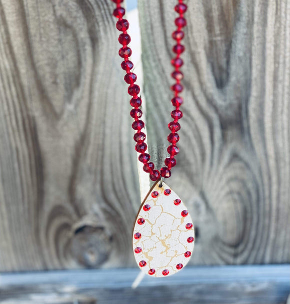 Pink Panache Red Crackle Necklace Clearance Rockin The Lace Boutique