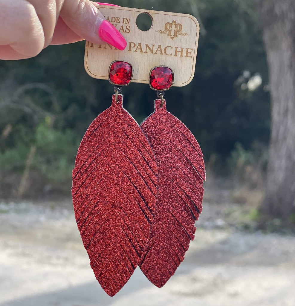 Pink Panache Red Feather Earring Jewelry Rockin The Lace Boutique