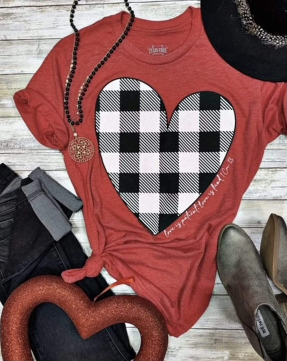 Plaid Heart Tee Clearance Rockin The Lace Boutique