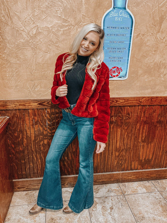 Red Furry Jacket Clearance Rockin The Lace Boutique