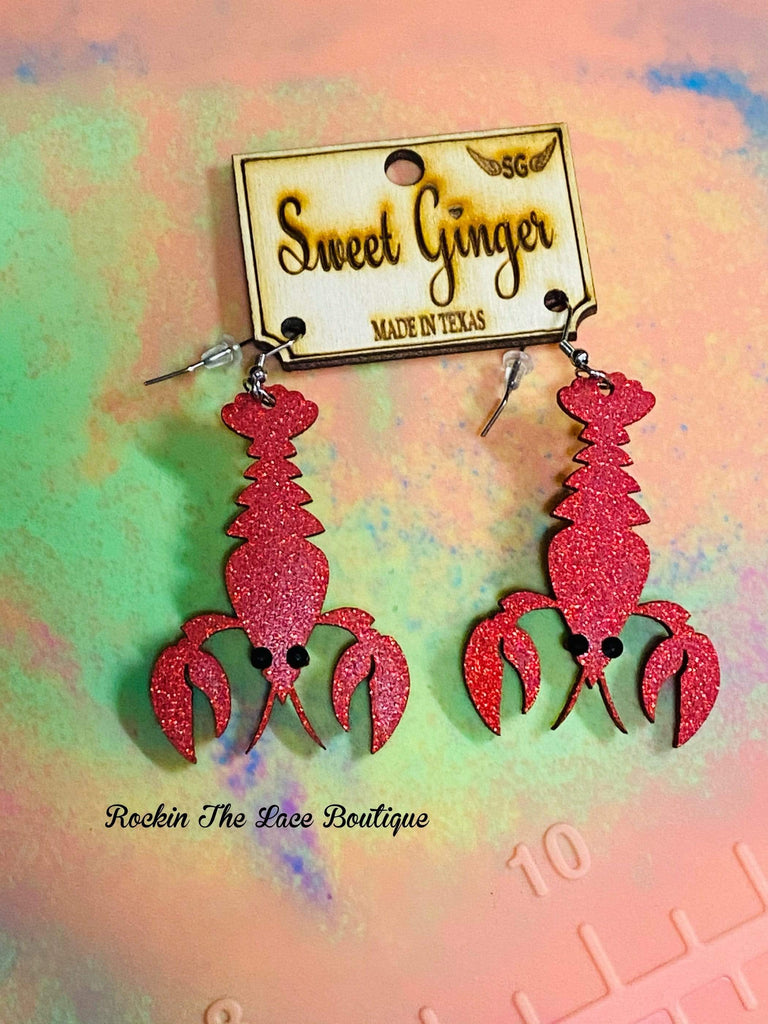 Red Glitter Crawfish Earrings Jewelry Rockin The Lace Boutique