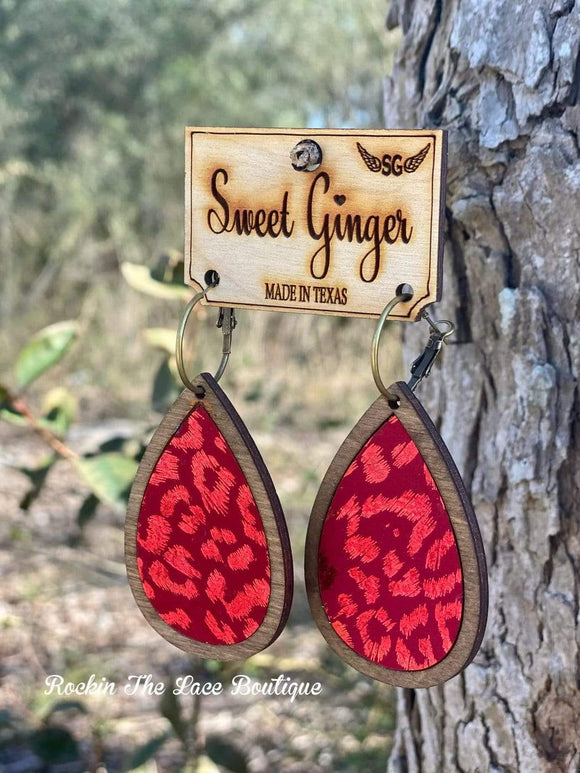 Red Leopard Earring - Sweet Ginger Earrings Rockin The Lace Boutique