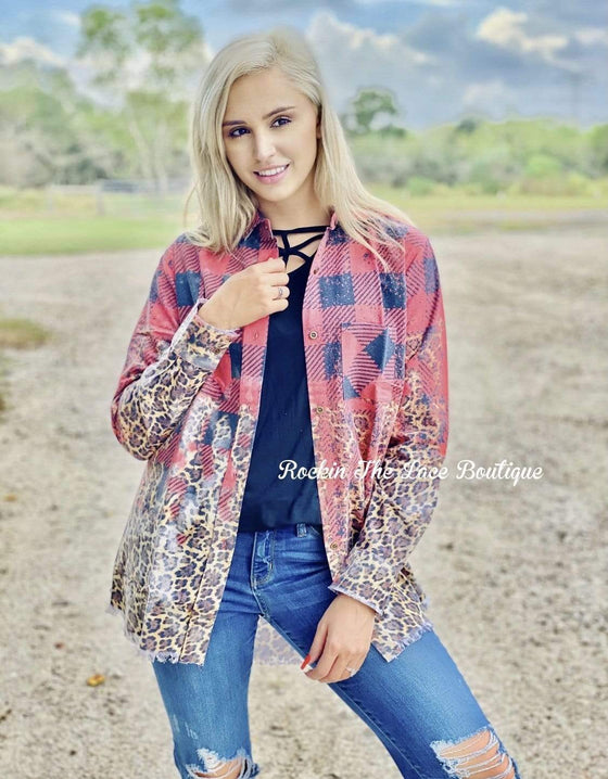 Red Plaid Flannel Small Clearance Rockin The Lace Boutique