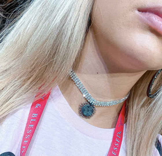 Rhinestone Upcycled Choker Clearance Rockin The Lace Boutique