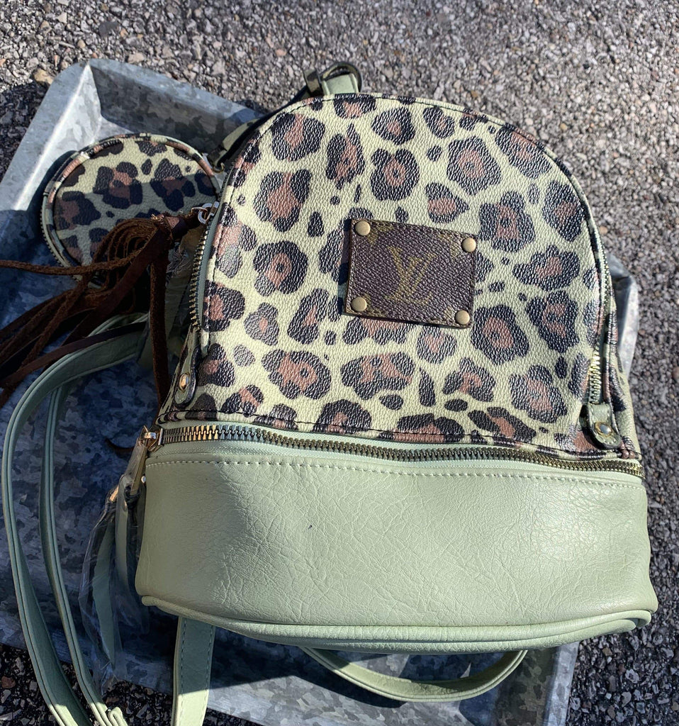Sage Green Leopard Backpack Clearance Rockin The Lace Boutique