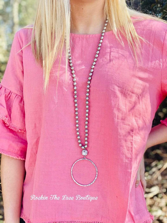 Silver Round Necklace - Pink Panache New Rockin The Lace Boutique