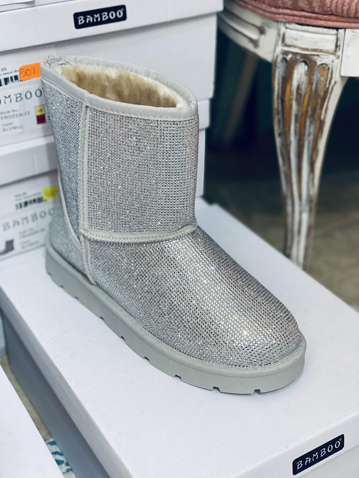 Silver Sequin Boot Clearance Rockin The Lace Boutique