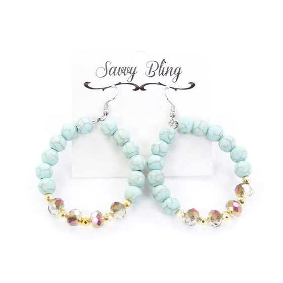 Turquoise & Gold Perfection Hoop Jewelry Rockin The Lace Boutique
