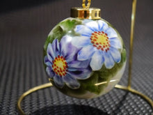 Handpainted Christmas Ball Ornament With Gold Stand Blue Daisies Floral Design