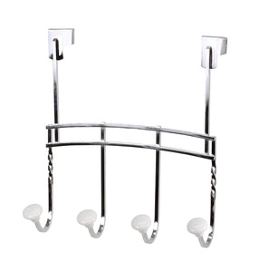 Cambridge 4 Hook Rack Over the Door Chrome