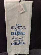 "Artistic Kitchen Towel: ""Inventor of doorbell"""