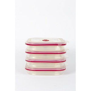 Collapse-It Rectangle, 4 Cup Storage Container-Magenta Rim