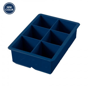 "Tovolo King Cube Ice Tray Deep Indigo, six 2"" square cubes"