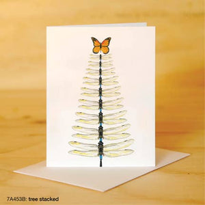 Printed Canvas Greeting Card- Butterfly and Dragonfly Tree