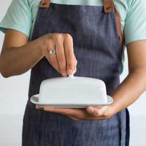 Now Designs White Stoneware Butter Dish