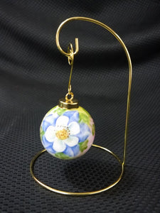 Hand Painted Christmas Ball Ornament w/ Gold Stand Blue Columbine Floral Design