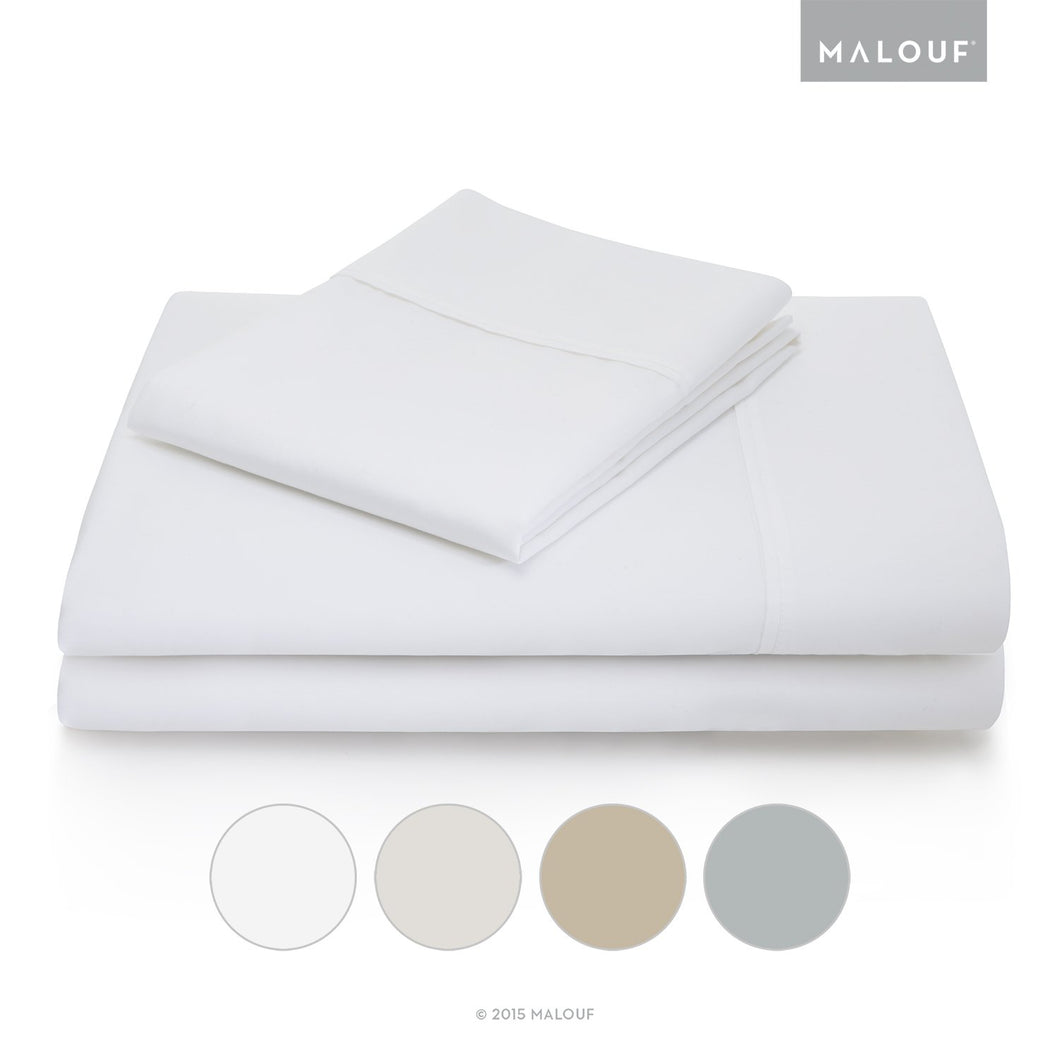 Malouf Woven Cotton Blend Sheet Set, Queen - White