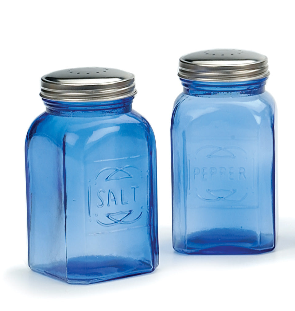 RSVP Salt and Pepper Shakers, Retro Style, Blue Glass, Stainless lid