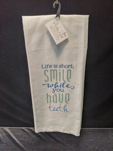 "Artistic Kitchen Towel: ""Life is short"""