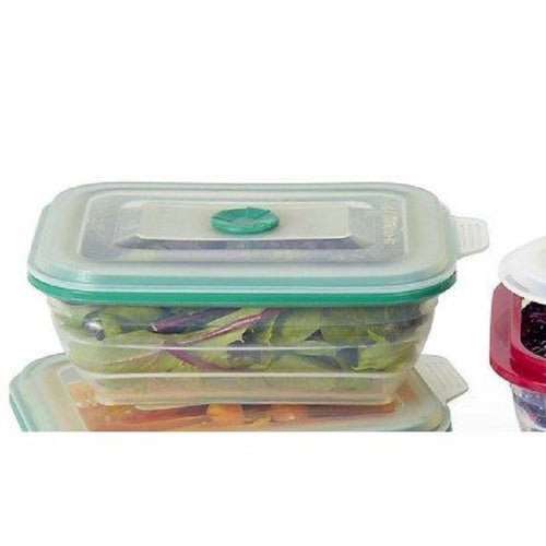 Collapse-It Rectangle, 3 Cup Storage Container-Green Rim