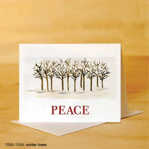 Printed Canvas Greeting Card- Winter Trees with Peace