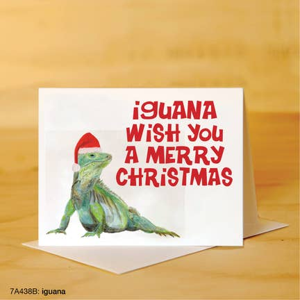Printed Canvas Greeting Card- Iguana Wish You a Merry Christmas