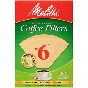 Melitta #6 Cone Filter Paper Natural Brown - 40 Count