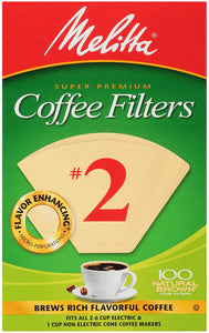 Melitta #2 Cone Filter Paper Natural Brown - 40 Count