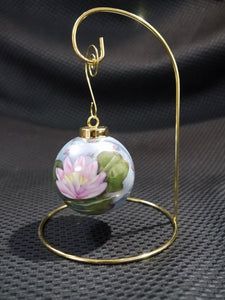 Hand Painted Christmas Ball Ornament With Gold Stand Water Lily Design