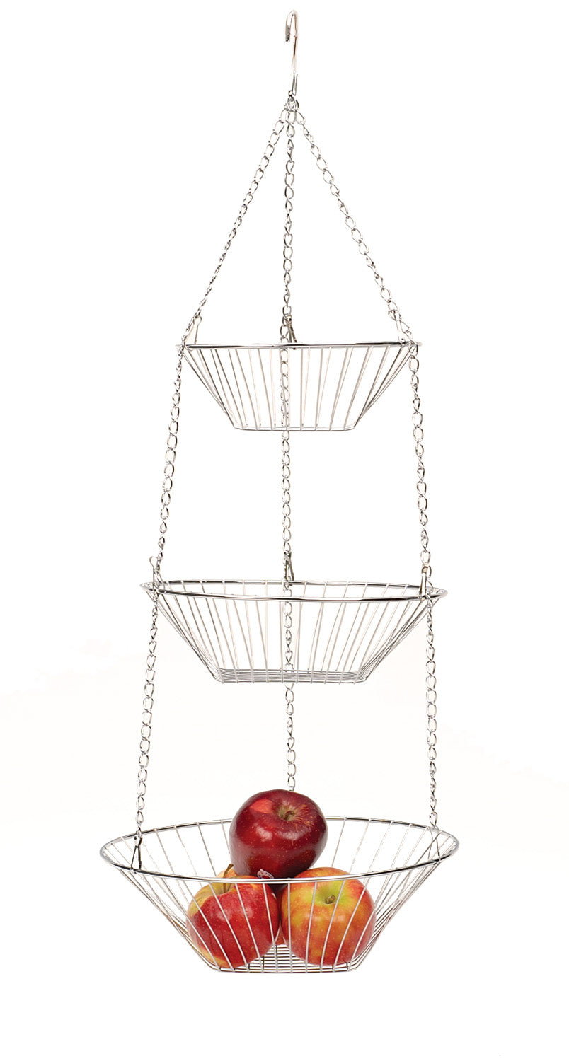 R.S.V.P. Classic Kitchen Basics Hanging 3 Tier Basket-Chrome