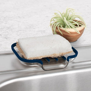 Cora Sponge & Soap Dish, Clear with Blue Lining