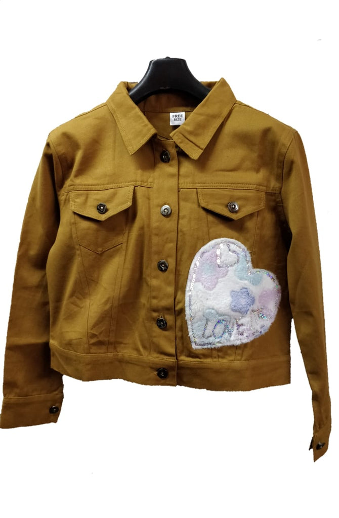 Women's Denim Jacket In Brown Color With Unique Design Patch