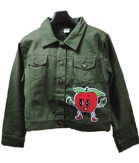 Women's Denim Jacket In Green Color With Unique Design Patch