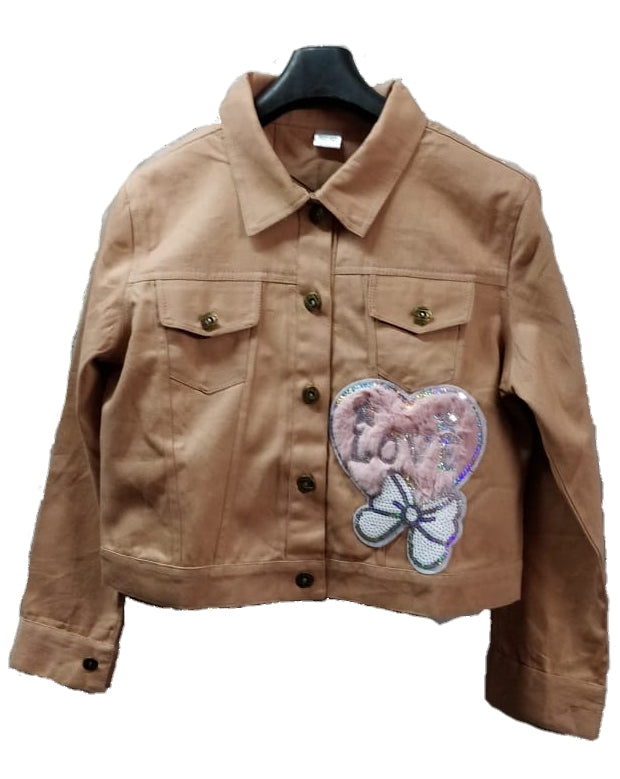 Women's Denim Jacket In Peach Color With Unique Design Patch