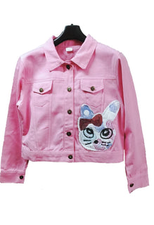Women's Denim Jacket in Pink Color