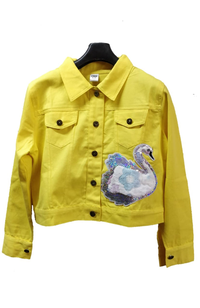 Women's Denim Jacket In Yelow Color With Unique Design Patch
