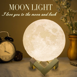 3D LED MAGIC MOON LAMP WITH WOOD STAND