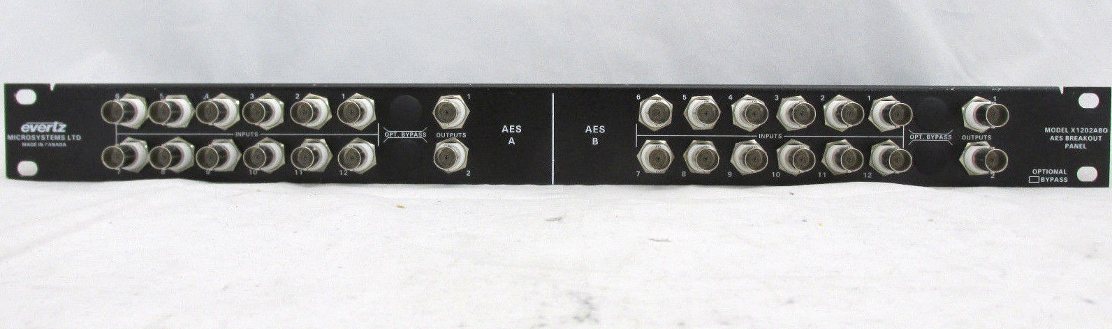 EVERTZ X1202ABO UNBALANCED 12 x 2 input  AES BREAKOUT PANEL