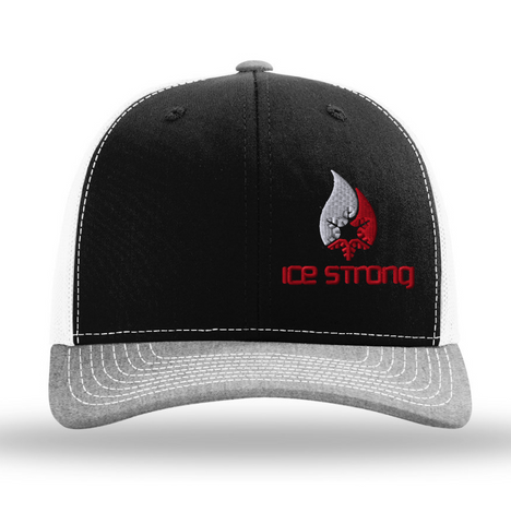 Black/Charcoal Visor/White Mesh Offset White/Red Logo Baseball Cap