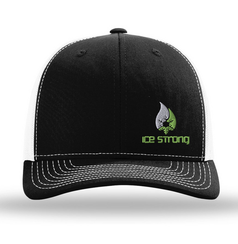 Black/White Mesh Offset White/Green Logo Baseball Cap