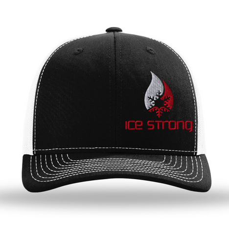 Black/White Mesh Offset Red/White Logo Baseball Cap