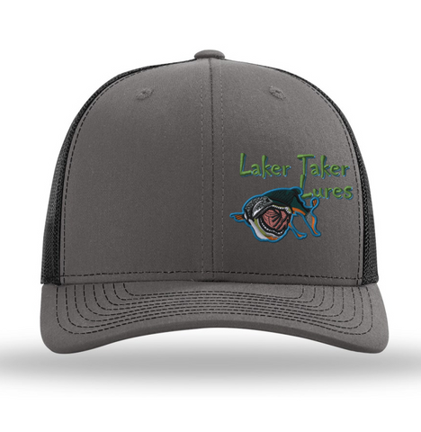 Charcoal/Black Mesh Offset Laker Taker Logo Baseball Cap