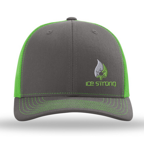 Gray/Neon Green Hat Offset Logo Baseball Cap