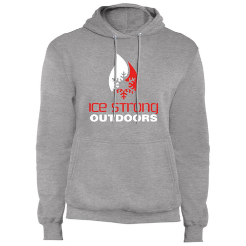 Men's Regular Pullover Hooded Sweatshirt Red & White Logo (Athletic Heather, Charcoal, Black, Navy, Royal, Olive)
