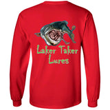Men's Long Sleeve Laker Taker Tee - Red/Black Logo