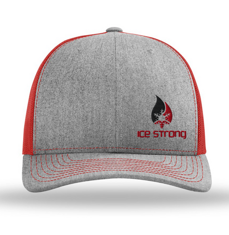 Heather Gray/Red Mesh Offset Black/Red Logo Baseball Cap