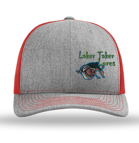 Heather/Red Mesh Offset Laker Taker Logo Baseball Cap